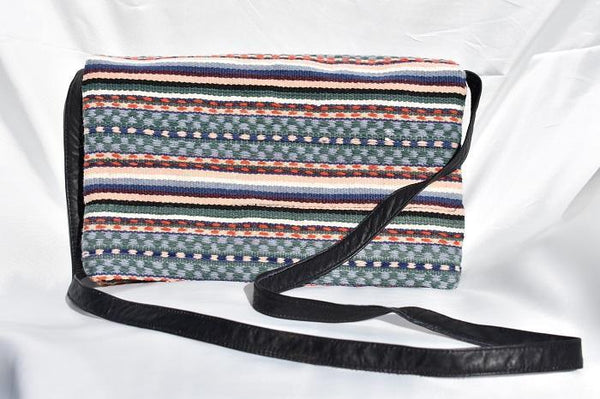 Wool and leather Peruvian Crossbody Bag - Earth