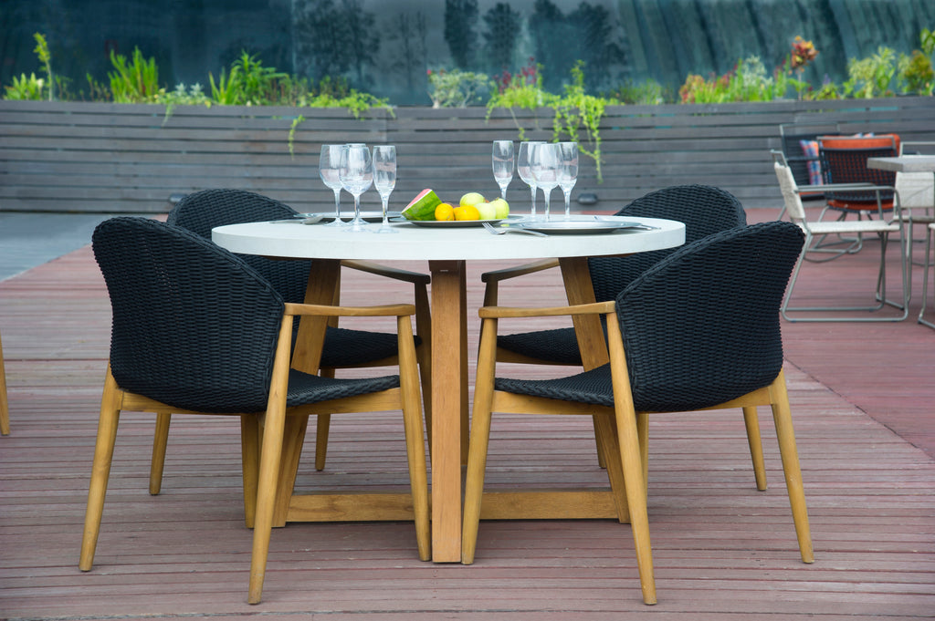 Mika Round Dining Table - Grey/White Mix