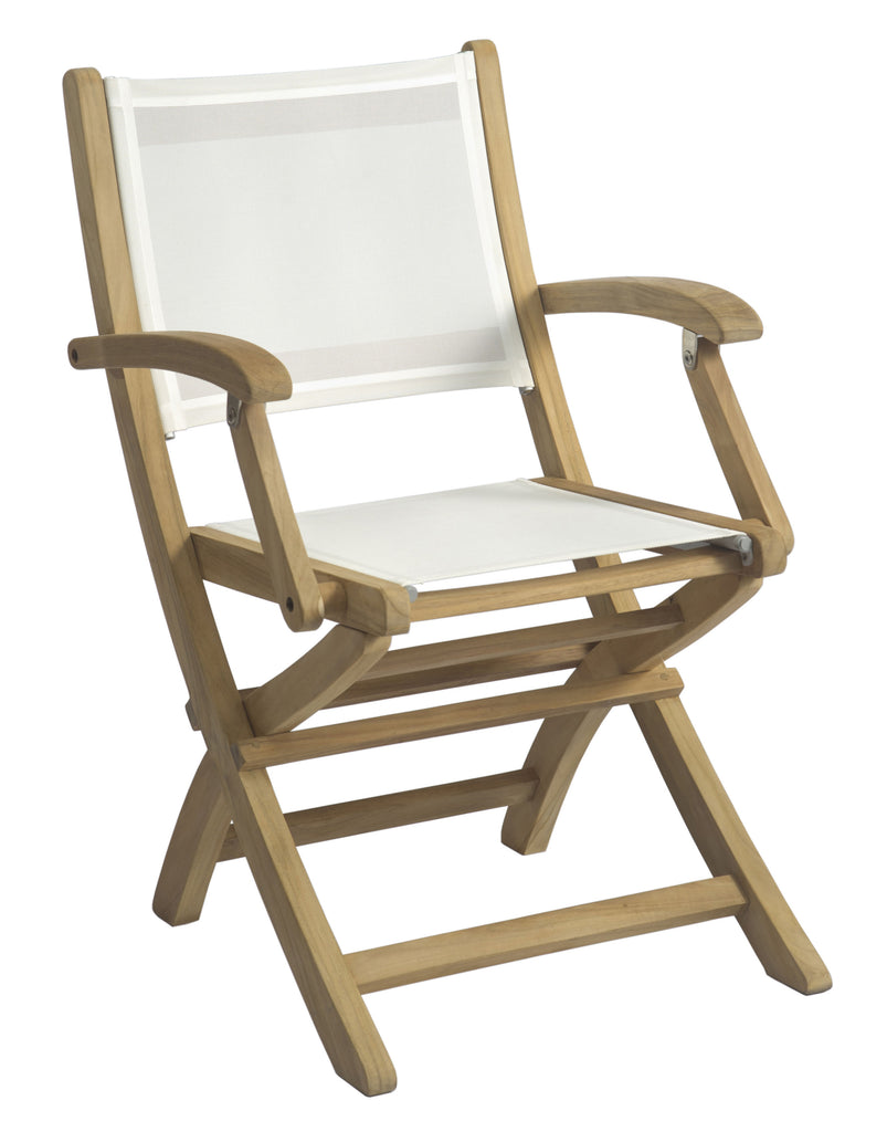 Borneo Folding Dining Arm Chair - White Sling
