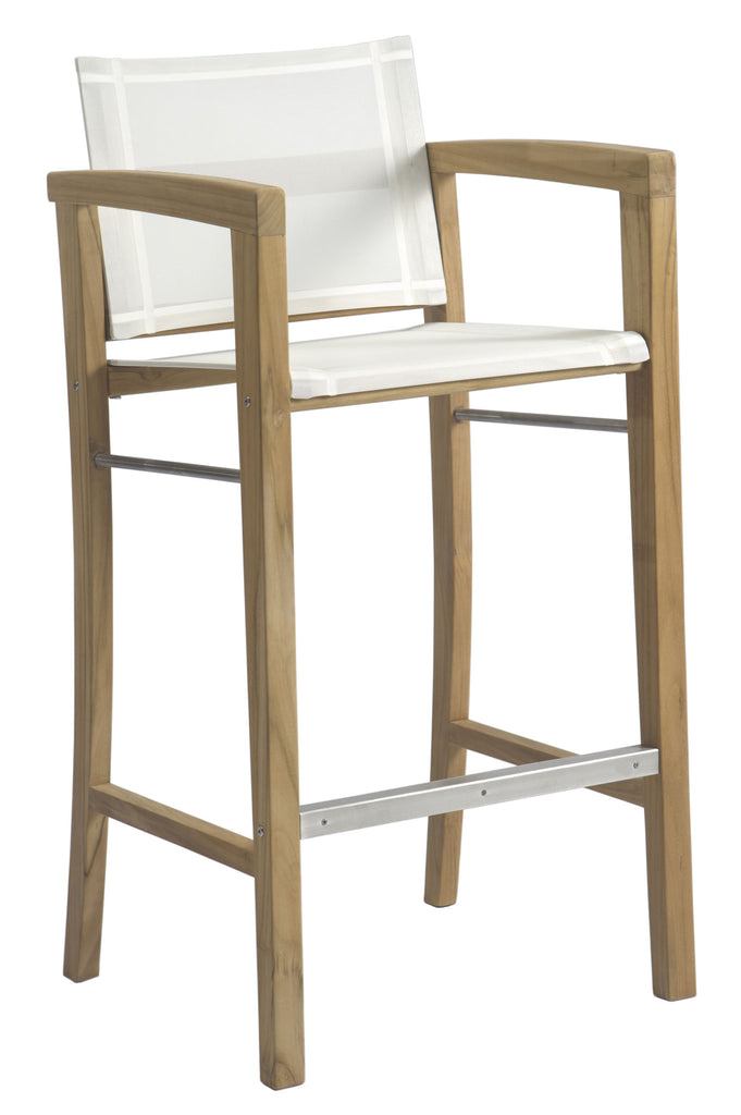 Borneo Bar Chair with Arms - White Sling