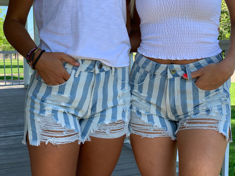 Buddy Love Sheriff Distressed High-Waisted Denim Shorts