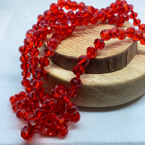 "60"" BEAD NECKLACES - IRIDESCENT RED"