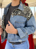 Distressed Leopard Denim Jacket