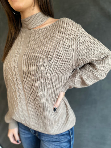 Mock Neck Cut Out Sweater