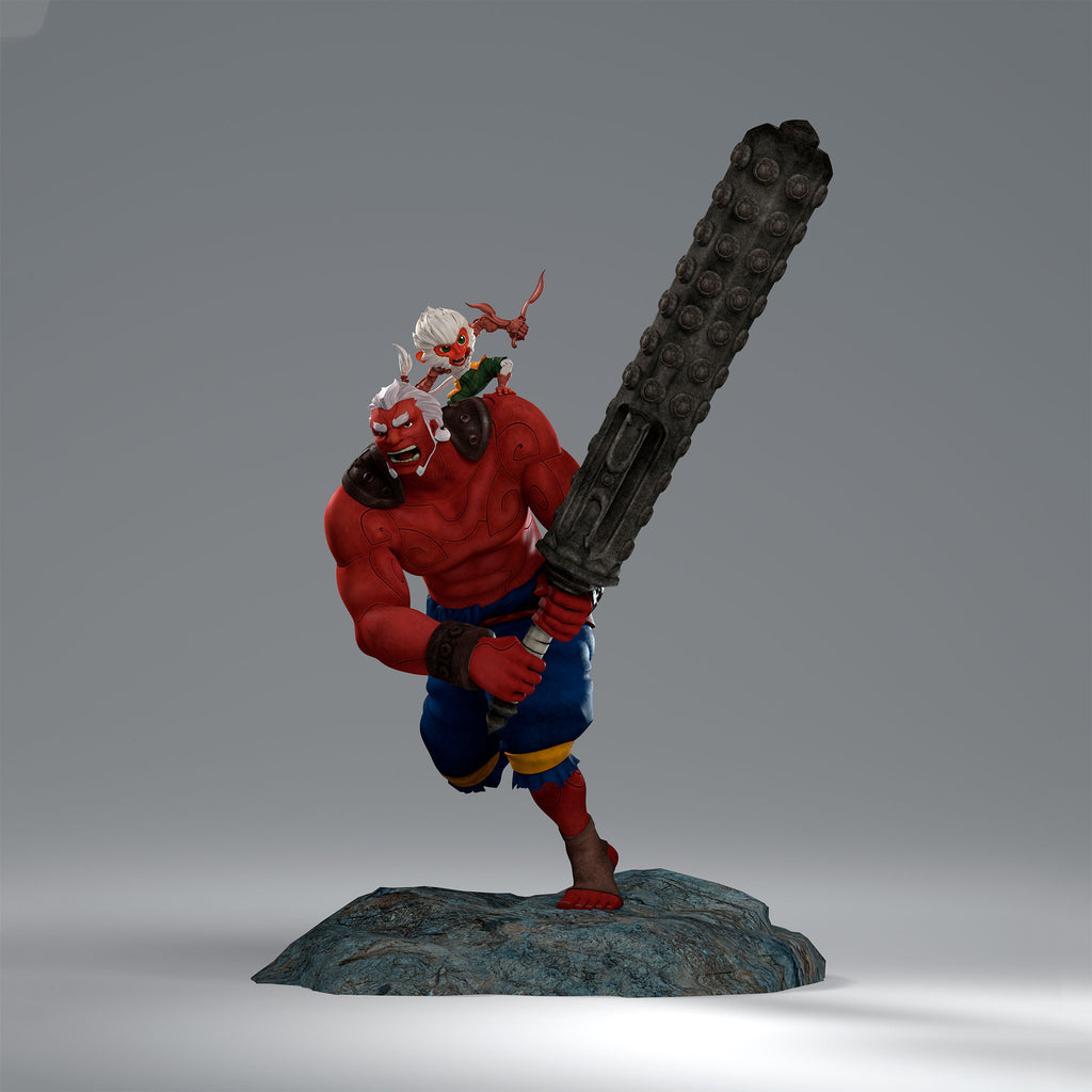 Red Asura with Varta Statue