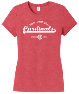 St. Christopher District Made Perfect Tri Ladies T-Shirt - Red Frost