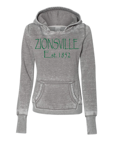 Ladies' Cement Vintage Fleece Pullover w/ Zionsville in Green