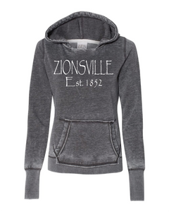 Ladies' Dark Smoke Vintage Fleece Pullover w/ Zionsville in White