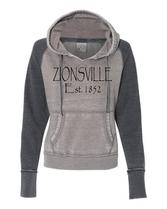 Ladies' Cement/Dark Smoke Vintage Fleece Pullover w/ Zionsville in Black