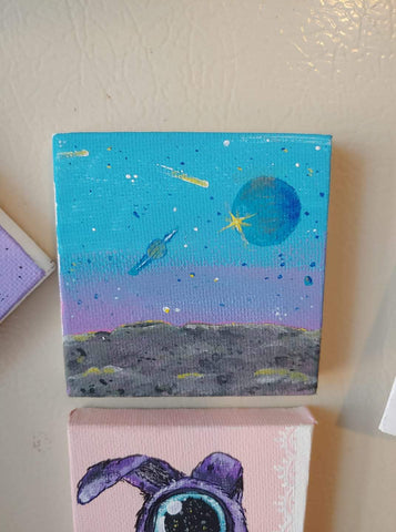'Space' mini painting magnet