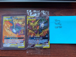 Moltres & Zapdos & Articuno GX Tag Team - Full Art (Stained Glass) Hidden Fates - TLC Pins