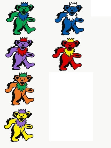 Grateful Dead Marching Bears with Partyhats