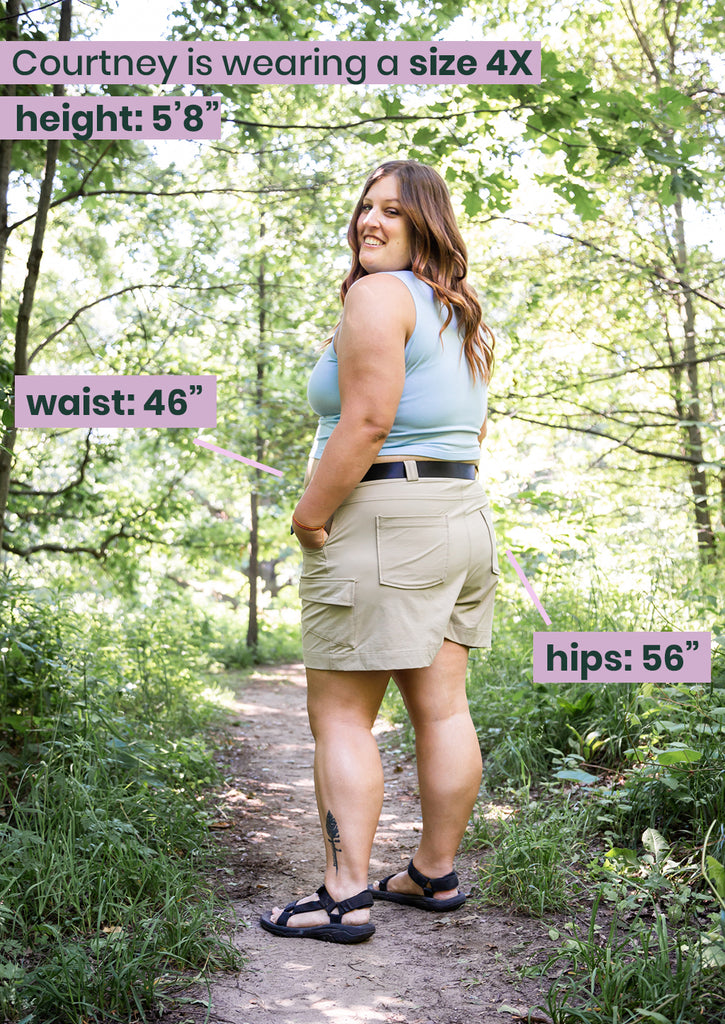 4X model outdoors in the take a hike shorts