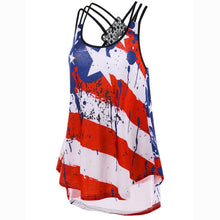 Load image into Gallery viewer, Plus Size Women Tank Tops Sexy Backless Lace US Flag Print Striped Sleeveless Cami Tops Tee Shirt regata - thegsnd