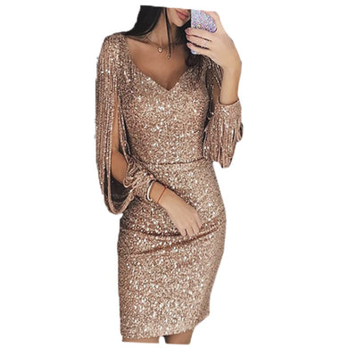 Women Knee Length Party Dress Gold Tassel Dresses Female Bodycon Long sleeve Bright Silk Shiny Dress Vestidos-thegsnd