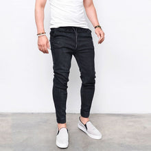 Load image into Gallery viewer, Envmenst Brand Fashion Men's Harem Jeans Washed Feet Shinny Denim Pants Hip Hop Sportswear Elastic Waist Joggers Pants - thegsnd