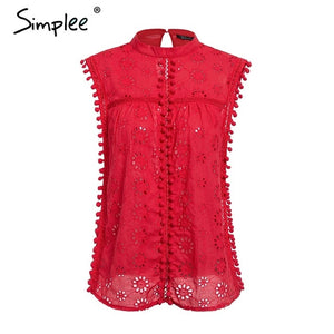 Elegant tank top women blouse Cotton embroidery red shirts feminina sexy top Stand neck tassel pompon ladies tops female - thegsnd