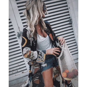 Women Chiffon Kimono Cardigan Floral Printed Long Sleeve Blouse Summer Beach Cover Up Long Tops Boho Loose Ladies Shirts Blusas - thegsnd