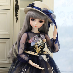 1/3 BJD Doll Lifelike Girls Princess Dolls 60CM 18 Ball Joints With Full Outfits Hat Wig Dress Shoes Makeup Changeable Eyes Toys - thegsnd