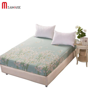 100 Cotton Fitted Sheet King Size 180x200cm Twin Plant Flowers Home Fitted Bedsheet For Adults Bed Cover One Piece - thegsnd