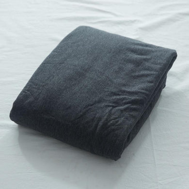 100% Cotton soft jersey knit fitted sheet 1PC solid color Grayish black navy blue bedsheet 120cm 150cm 180cm queen king size bed - thegsnd