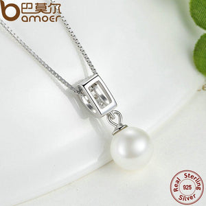 BAMOER 925 Sterling Silver Simulated Pearl Pendant Necklace Long Chain Necklace SCN030 - thegsnd