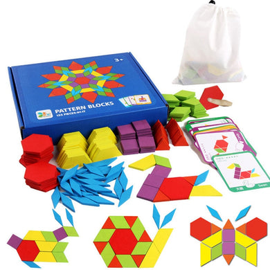 155pcs Wooden Pattern Block Set Creative Kids  Educational Toys Montessori Developmental  brain teaser jigsaw Toy - thegsnd