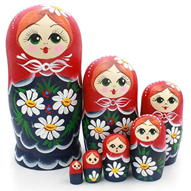 Matryoshka Toys Wishing Dolls Matryoshka Wood Stacking Nested Set 7 Pcs Russian Nesting Dolls Handmade Toys for Children Kids Christmas Mother's Day Birthday Home Room Decoration Halloween Wi