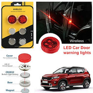 Allure Auto (2Pairs 4Pcs) Wireless Car Door 5 LED Warning Light,Flash Light,Safety Light,Strobe Lights for Anti Rear-End Collision(RED) for Kia Sonet