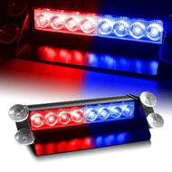 Auto Hub Waterproof 8 LED Red Blue Police Flashing Light for All Cars