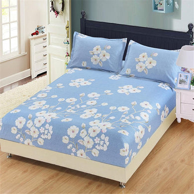 2018 New cool Spring 100%cotton Elastic mattress fitted sheets colorful bedsheet blue white flower printed twin full queen king - thegsnd