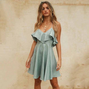 2019 Elegant v-neck ruffle women summer dress Spaghetti strap A-line backless cotton dress Casual female white solid vestidos - thegsnd