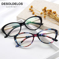 Floral Almond Flower Leaf Cateye Cat Eye Frame Clear Lens Glasses Women