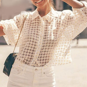 Sweet flower women blouse shirt Summer elegant beige crop tops Buttons see through holiday beach female blouses - thegsnd