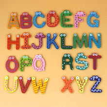 Load image into Gallery viewer, 26pcs/set Wooden Cartoon English Alphabet ABC~XYZ for Kids Toys Refrigerator Magnets - thegsnd