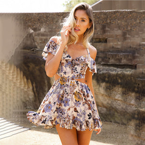 Women Summer Beach Dress Casual Sleeveless Short Mini Dress Colorful Flower Patterns Dress - thegsnd