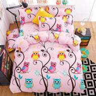 3/4pcs Cartoon bedding set 100% cotton twin queen king size pink blue owl duvet quilt cover cartoon bedsheet bedclothes linen - thegsnd