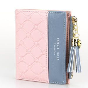 Tassel Zipper Purse Pink Woman's Wallet Double Color Leather Wallets for Euro Card Holder Money Bag - thegsnd