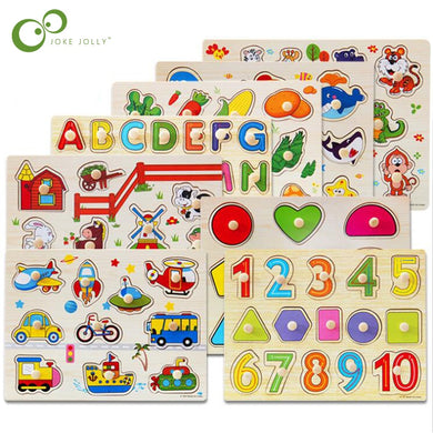 30cm Kid Early educational toys baby hand grasp wooden puzzle toy alphabet and digit learning education child wood toy WYQ - thegsnd