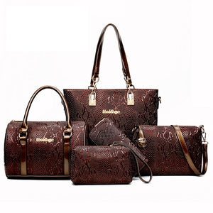 Women bag Leather Handbags Fashion Shoulder Bags Female Purse High Quality Six-Piece Set Designer Brand Bolsa Feminina - thegsnd