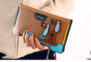 LY.SHARK Cartoon dog women purse bag designer wallets famous brand women wallet long money clip dollar price zipper coin pockets - thegsnd