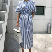 Load image into Gallery viewer, Summer Dress Korean Style Women Fashion Striped Dress Waist Tie Front Slit Chic Midi Dress Short Sleeve Ladies Casual Dresses - thegsnd