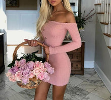 Load image into Gallery viewer, Sexy Off Shoulder Women Dress Slim Bodycon Dress Autumn Winter Knitted Elastic Sweater Dress Club Party Night Dresses Vestidos - thegsnd