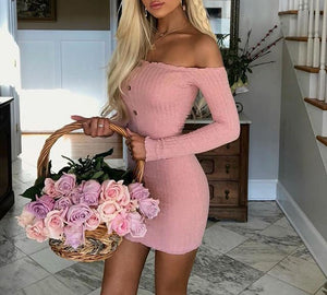 Sexy Off Shoulder Women Dress Slim Bodycon Dress Autumn Winter Knitted Elastic Sweater Dress Club Party Night Dresses Vestidos - thegsnd