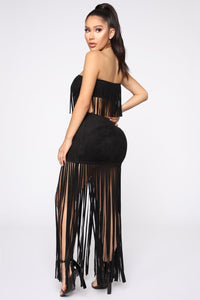 Fringe Tassel Strapless Top and Skirt 2 Piece Set Sexy Hollow Out Club Outfit Velvet Skirt Set Elastic Elegant Party Suit - thegsnd