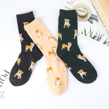 Load image into Gallery viewer, Cute Kawai Cartoon Women Combed Cotton Socks Women Funny Shiba Inu Dog Corgi Lovely Animal Pattern Casual Sock - thegsnd