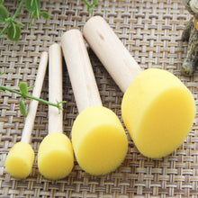 Load image into Gallery viewer, 4pc/lot Yellow Sponge Paint Brush Seal Sponge Brush Handle Children Graffiti Painting Toy Kids Craft DIY Graffiti Drawing Toys - thegsnd