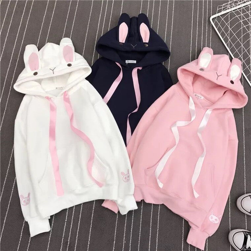 Women Cute Bunny Hoodie Long Sleeve Hoodie Lovely Female Rabbit Hoody Sweatshirts Loose Size Lovely Cotton Treetwear - thegsnd