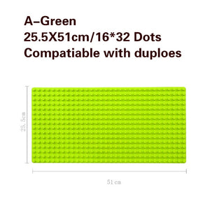 512 Duploe Big Bricks Base Plate 16*32 Dots 51*25.5cm Baseplate DIY Building Blocks Toys For Children Compatible Duplos Green-Kids Playing Zone-thegsnd