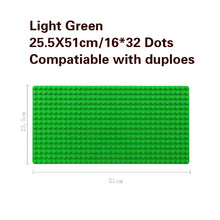 Load image into Gallery viewer, 512 Duploe Big Bricks Base Plate 16*32 Dots 51*25.5cm Baseplate DIY Building Blocks Toys For Children Compatible Duplos Green - thegsnd